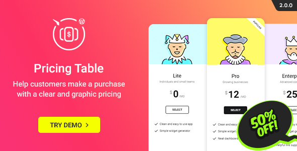 WordPress Pricing Table Plugin v2.5.3