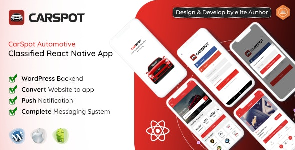 CarSpot v1.3 - Dealership Classified React Native Android App + IOS