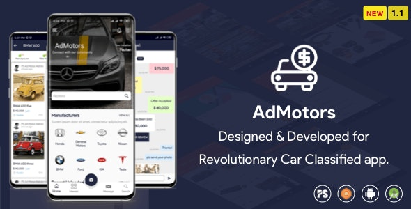 AdMotors For Car Classified BuySell Android App v1.1