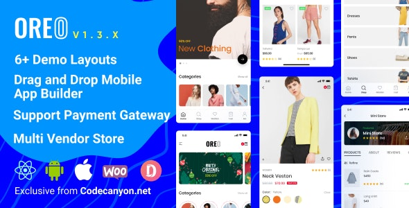 Oreo Fashion v1.3.0 - Full React Native App for Woocommerce