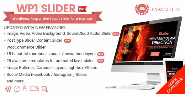 WP1 Slider Pro v1.2.2 - WordPress Responsive Touch Slider for a Layman