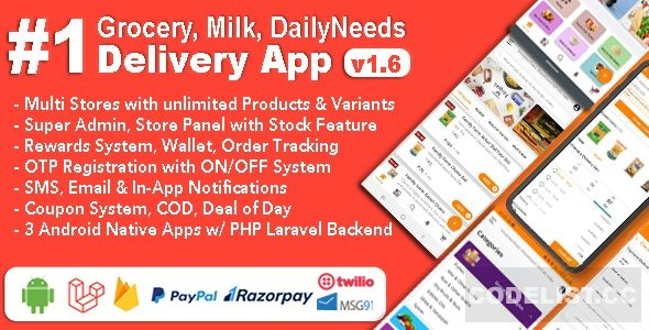 Grocery and Vegetable Delivery Android App with Admin Panel v1.6.4 - Multi-Store with 3 Apps - nulled