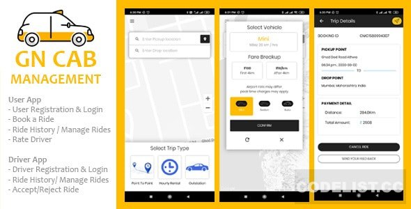 GN Cab Management v1.0.1 - Ionic Cab Booking, Taxi Booking Android & iPhone App, PHP Codeigniter
