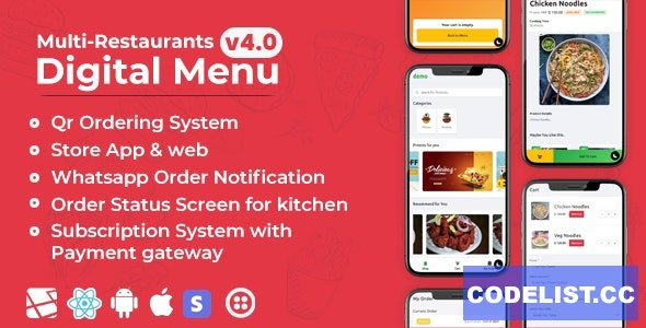 Chef v4.0 - Multi-restaurant Saas - Contact less Digital Menu Admin Panel with - React Native App